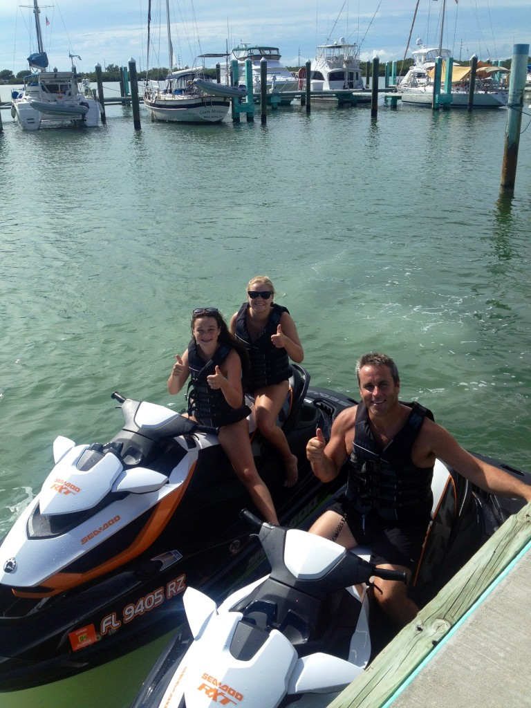 James, Megan and Jenna on their jet skis